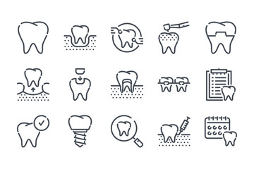 Dentistry related line icon set. Dentist and stomatology vector lined icon collection.