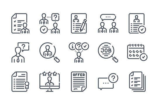 Interview related line icon set. Job offer and employment vector linear icon collection.