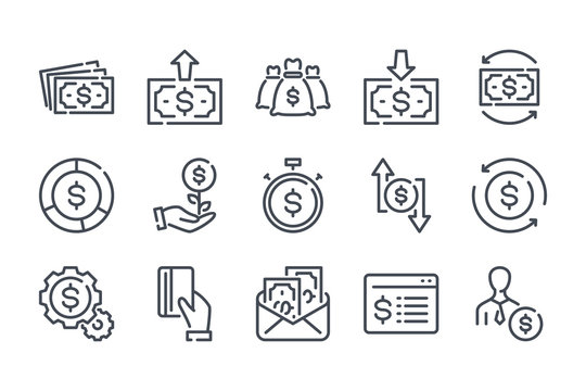 Money and payment related line icon set. Funds and savings vector icon collection. Income and profit linear icons.