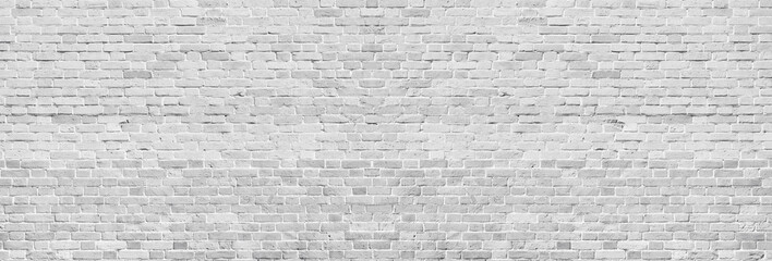 Printed roller blinds Brick wall Wide white washed brick wall texture. Rough light gray vintage brickwork. Whitewashed panoramic background