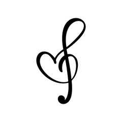 Hand drawn Love Music vector Logo treble clef and heart. Isolated on the white background