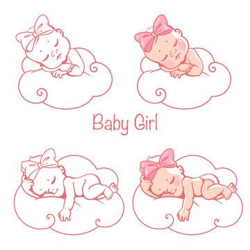 Newborn baby girls sleeping on white cloud.