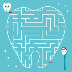 Maze game for kids. Help the tooth find right path to the toothbrush. Vector kawaii characters.