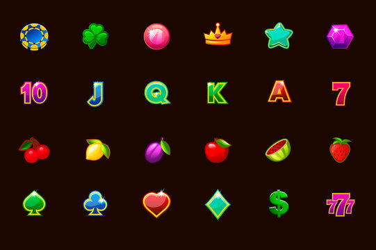 Vector big set gaming icons for slot machines and a lottery or casino in different colors. Game casino, slot, UI. Vector icons on separate layers.