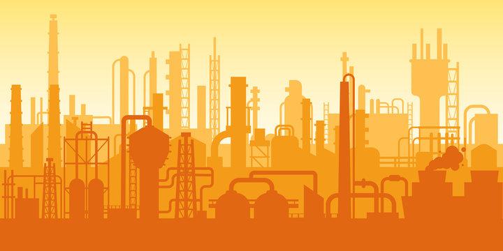 Industrial plant, factory silhouette, exterior of enterprise scene, oil refinery.