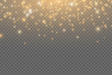 Wall Mural - Abstract falling golden lights. Magical golden dust and glare isolated on transparent background. Festive Christmas lights. Golden rain. Vector illustration
