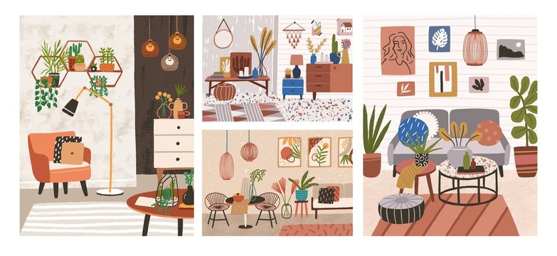 Collection of interiors with stylish comfy furniture and home decorations. Bundle of cozy living rooms or apartments furnished in trendy Scandinavian hygge style. Flat colorful vector illustration.