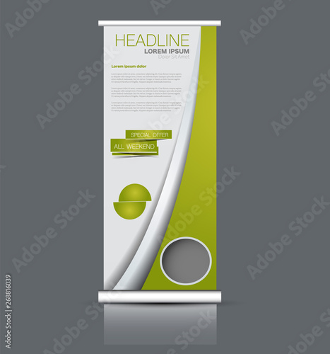 Roll Up Stand Design Vertical Banner Template Vector
