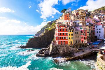 Obraz Riomaggiore, a village in the Cinque Terre, italy - fototapety do salonu