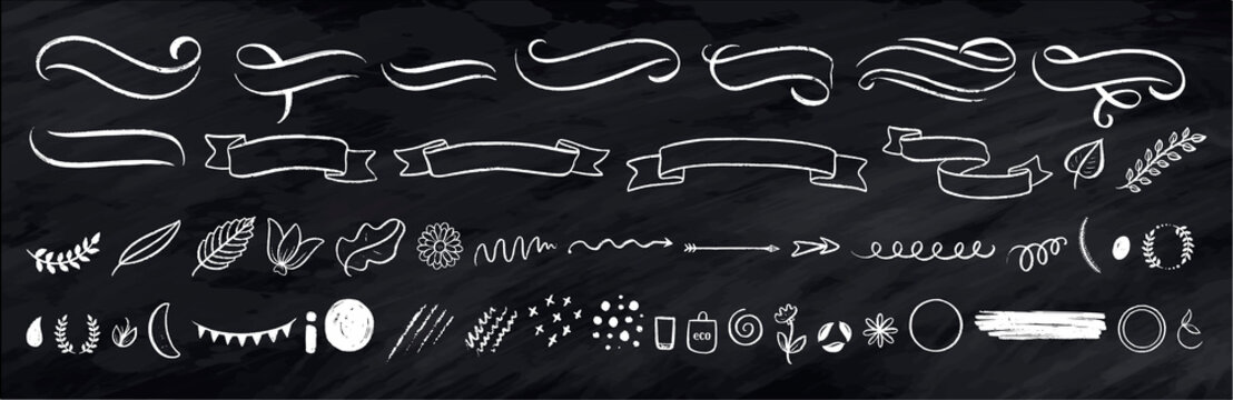 Abstract arrows, ribbons and other elements in hand drawn style for concept design. Doodle illustration. Vector template