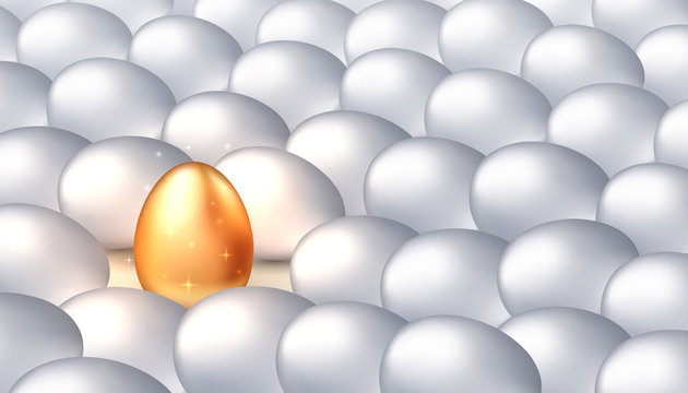 Unique golden egg among ordinary white eggs, the concept of exclusivity, success. Bright individuality, successful personality. Vector illustration