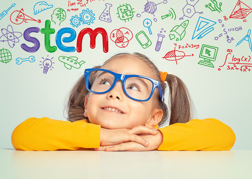 STEM word and doodles above beautiful cute little girl. modern education concept