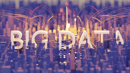smart city big data architecture, 3d rendering