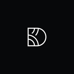 Outstanding professional elegant trendy awesome artistic black and white color DK KD initial based Alphabet icon logo.