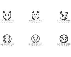 panda logo black and white head
