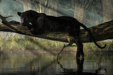 A black panther sits on a log over a small calm jungle pond.  Sunlight streams down through the forest canopy to illuminate the wild cat. 3D Rendering