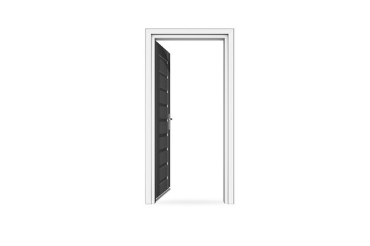 Opened Door with Copy Space on White