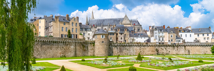 Vannes, medieval city in Brittany, view of the ramparts garden with flowerbed  Wall mural