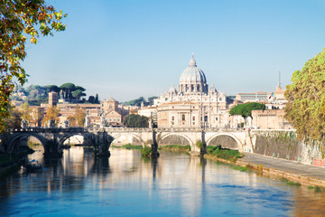 Foto op Canvas Rome St. Peter's cathedral over bridge