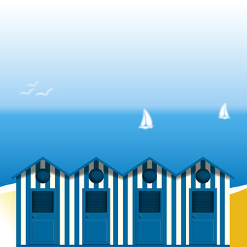 Cabines de plage type Gruissan