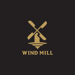 Windmill and farm logo design vector template
