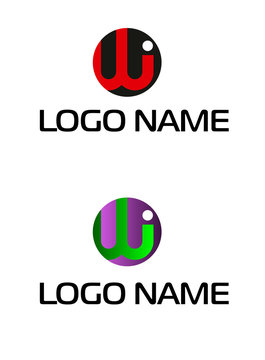 initial letter logo iw. WI, circle rounded lowercase logo. WI company linked letter logo.