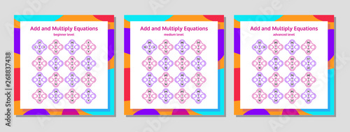 Addition and Multiplication Math Puzzle Set. Mathematical ... on
