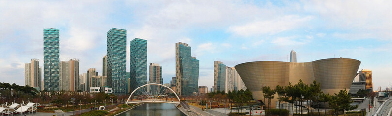 Stores photo Seoul Panorama view of Central park in Songdo International Business District, Incheon South Korea.