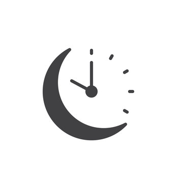 Sleeping time vector icon. filled flat sign for mobile concept and web design. Moon clock glyph icon. Symbol, logo illustration. Pixel perfect vector graphics