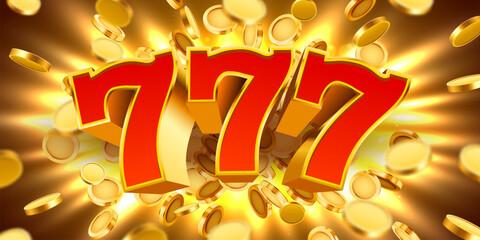 สล็อตแมชชีนทองคำ 777 พร้อมเหรียญทองบินชนะแจ็คพอต  แนวคิดชนะที่ยิ่งใหญ่