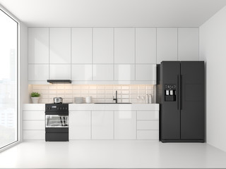 Minimal style kitchen 3d render.There are white floor and wall, Glossy white cabinet doors,Black refrigerator and oven,The room has large windows. lookink out to the city view.