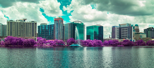 Panoramic of Lake Eola in Downtown Orlando, Florida
