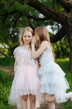 Playful girls in dresses gossiping in woods