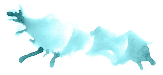 Abstract watercolor background hand-drawn on paper. Volumetric smoke elements. Blue-Green color. For design, web, card, text, decoration, surfaces.