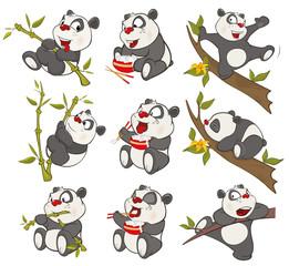 Vector Illustration of a set of Funny Panda Bear. Cartoon Character