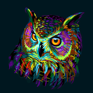 Long-eared Owl. Abstract, multicolored graphic hand-drawn portrait of an owl on a dark green background.
