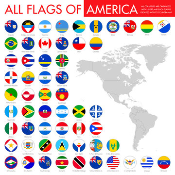 Alphabetically sorted circle flags of America. Set of round flags