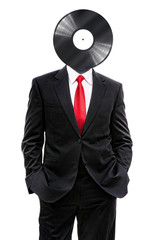 business man with vinyl disk