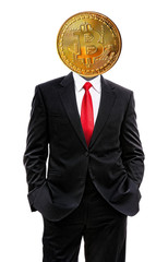 business man with bitcoin