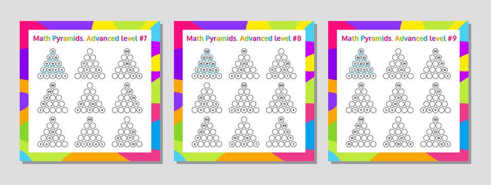 Math Pyramid Educational Game Worksheet Set. Mathematics puzzle. Vector Illustration.