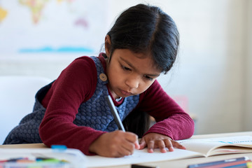 Young indian girl concentrating on her school work