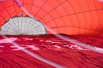 Blowing up a hot air balloon