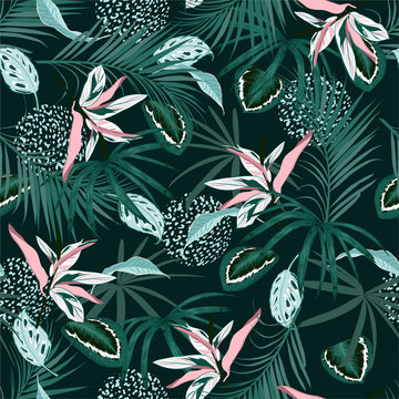Trendy Seamless pattern vector dark Tropical jungle and monotone  palm leaves, exotic palnts with animal skin  floral  design for fashion,fabric,web,wallpaper,and all prints