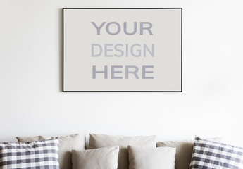Frame Mockup Hanging on a Wall in Interior