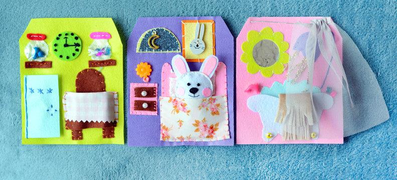 Handmade felt quiet book-house for bunny