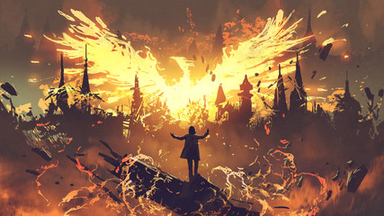 Zelfklevend Fotobehang Grandfailure wizard summoning the phoenix from hell, digital art style, illustration painting