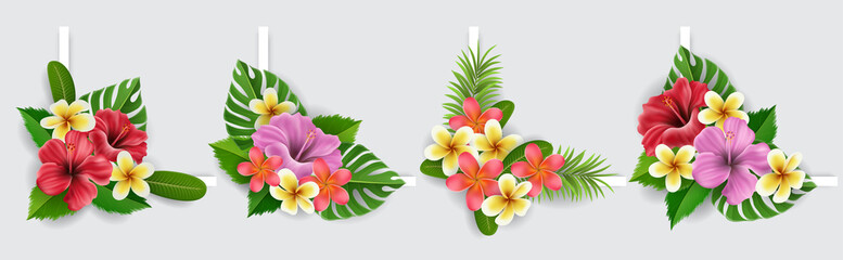 Corner design collection with exotic flowers and palm leaves, including hibiscus flower and plumeria. Vector illustration for summer and tropical design corner, holiday banner or for exotic destinatio