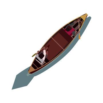 2 people paddling a canoe