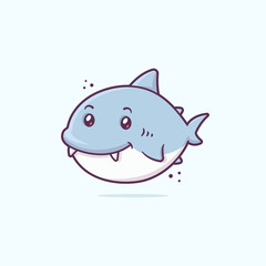 Cute little happy baby shark kawaii cartoon character vector illustration