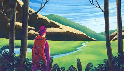 illustration of travel adventure in forest with modern colorful style Fototapete
